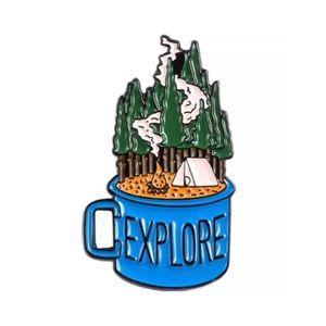 4/$20 Camping Travel Explore Mug Enamel Brooch Pin